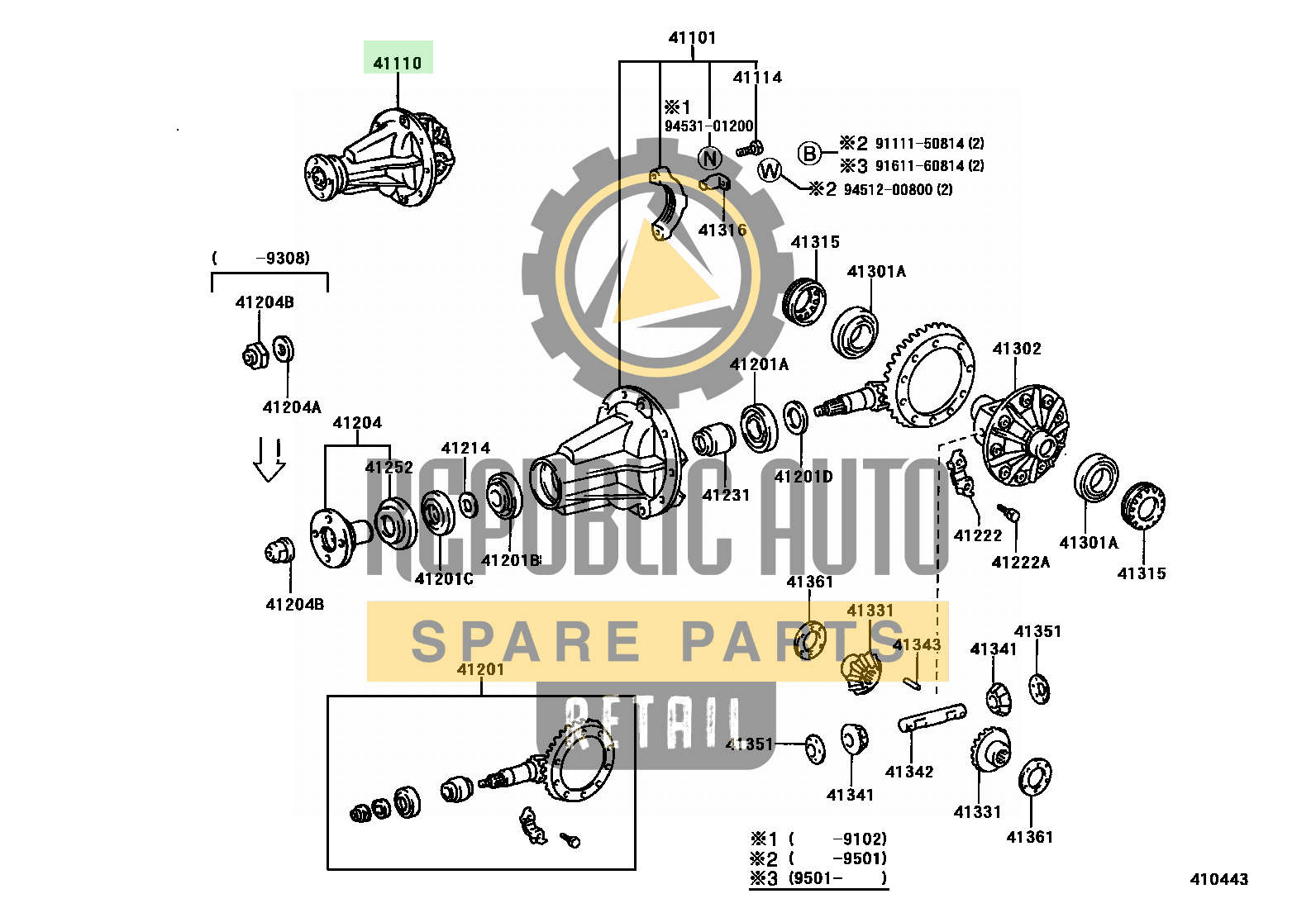 Part number: 41110-35650 	HILUX          (JPP) 671550 (LN105L-PRMRSW) / REAR AXLE HOUSING & DIFFERENTIAL