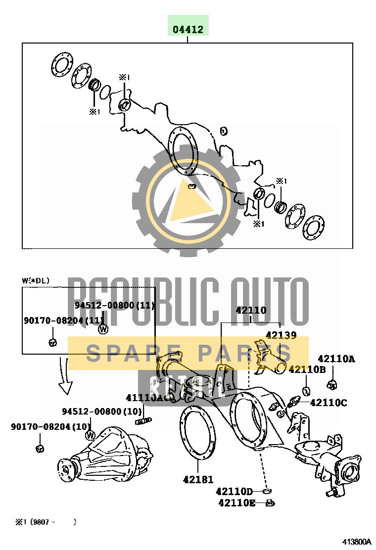 Part number: 04412-35120 	4RUNNER 671460 (RZN180L-GKMSKA) / REAR AXLE HOUSING & DIFFERENTIAL