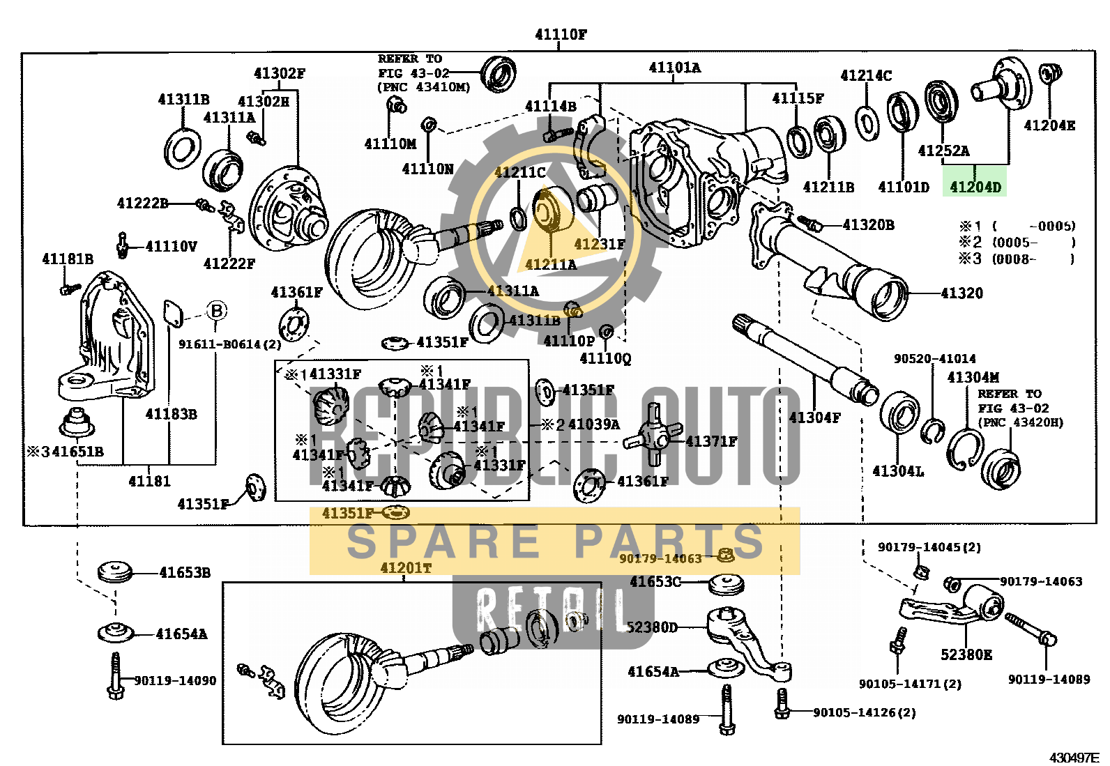 Part number: 41204-60040 	LAND CRUISER 100 791450 (UZJ100L-GNPEKA) / FRONT AXLE HOUSING & DIFFERENTIAL
