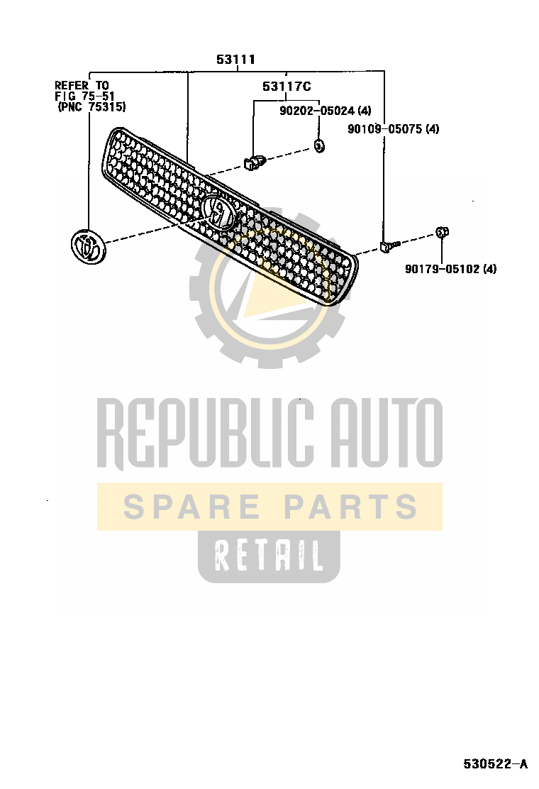 Part number: 53101-42040 	RAV4 662210 (SXA10L-AZMGK) / RADIATOR GRILLE
