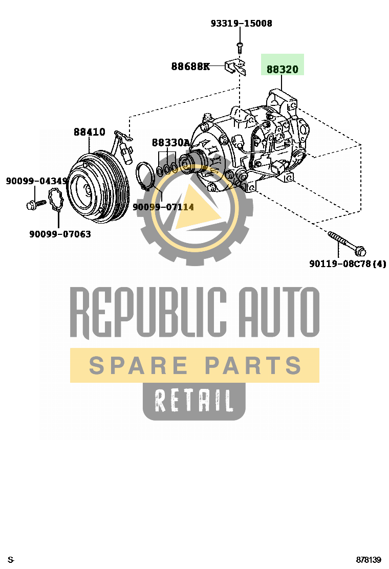 Part number: 88320-48110 	LEXUS RX300/330/350 521220 (GSU35L-AWAGKV) / HEATING & AIR CONDITIONING - COMPRESSOR