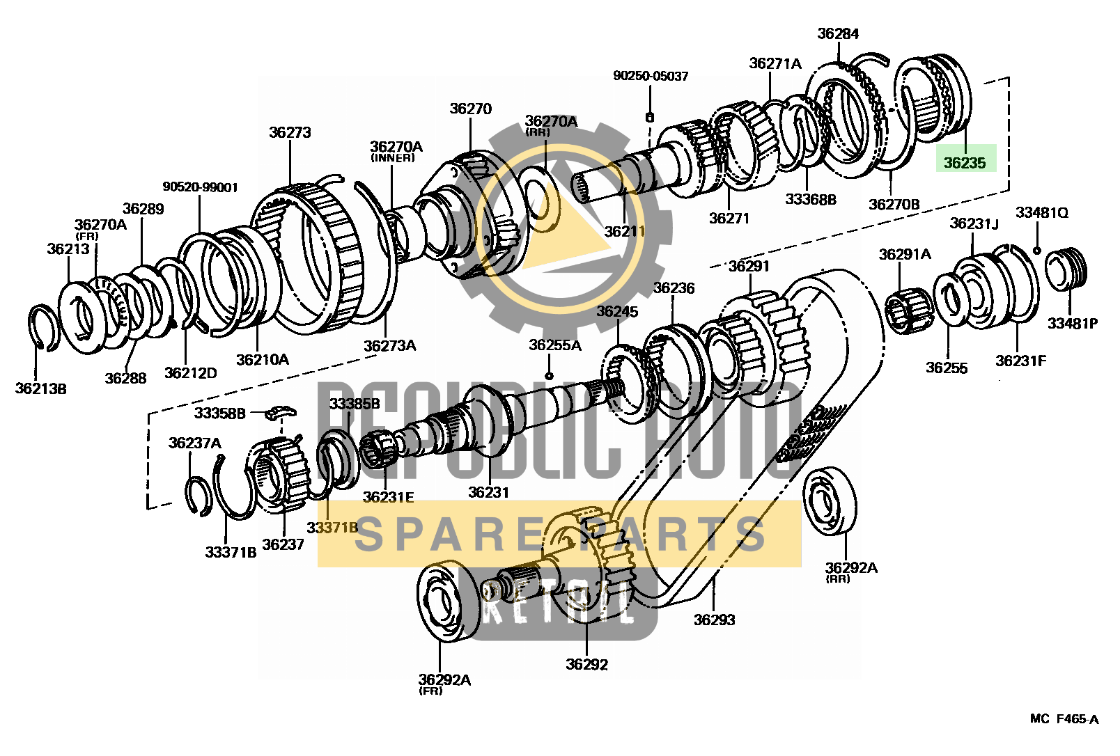 Part number: 36235-35021 	4-RUNNER TRUCK 671440 (VZN61L-MBEA) / TRANSFER GEAR
