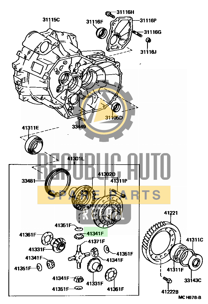Part number: 41341-20020 	CAMRY          (JPP) 281440 (VZV21L-UEMDKA) / FRONT AXLE HOUSING & DIFFERENTIAL