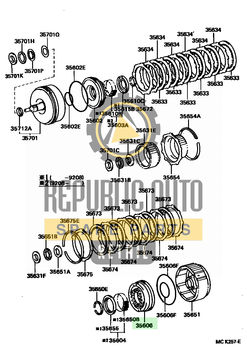 Part number: 35606-60010 	LAND CRUISER 791540 (FZJ80L-GCPNKW) / BRAKE BAND & MULTIPLE DISC CLUTCH (ATM)