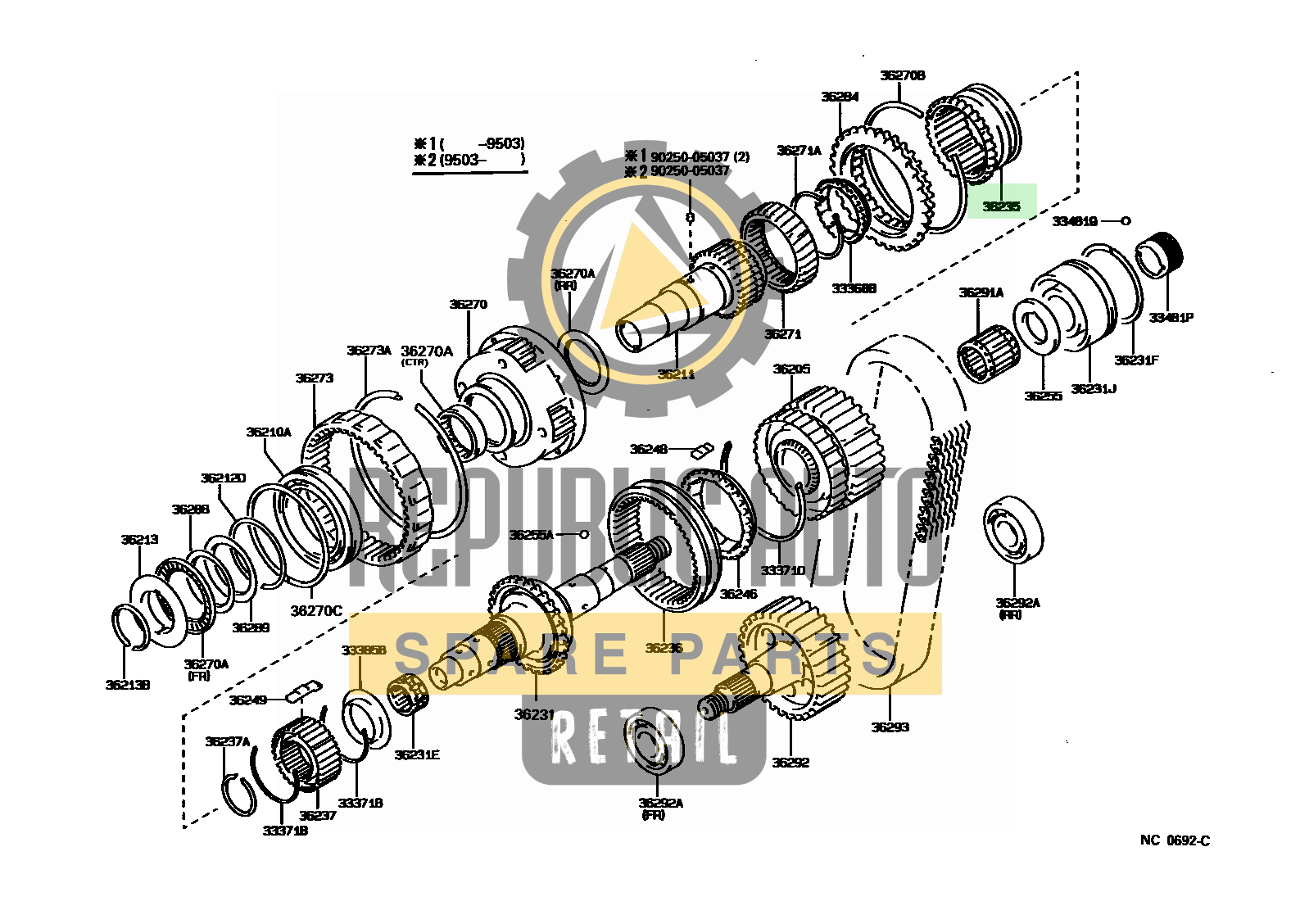 Part number: 36235-35021 	4-RUNNER TRUCK (JPP) 671450 (RN101L-TRLDEA) / TRANSFER GEAR