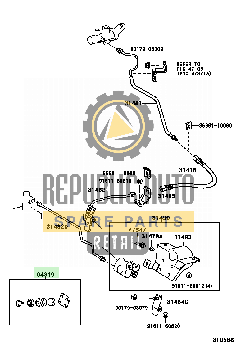 Part number: 04319-36020 	CAMRY      (JPP/SED) 281350 (VCV10R-AEMGKN) / CLUTCH PEDAL & FLEXIBLE HOSE