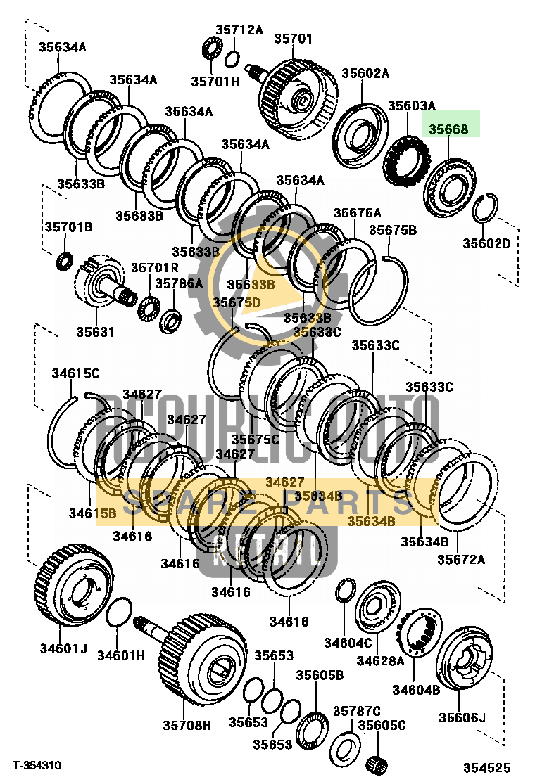 Part number: 35668-33010 	CAMRY 284370 (MCV30L-JEAEKR) / BRAKE BAND & MULTIPLE DISC CLUTCH (ATM)