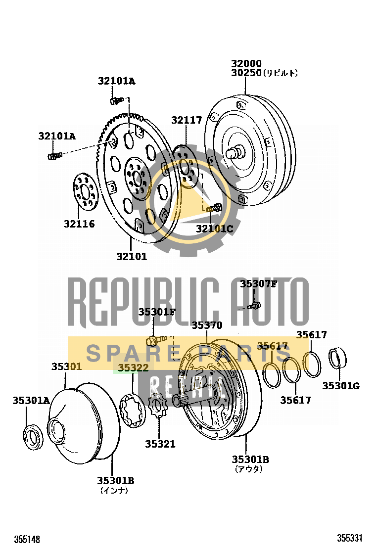 Part number: 35322-22140 	CROWN/MAJESTA 3311B0 (GRS180-AETQH) / TORQUE CONVERTER, FRONT OIL PUMP & CHAIN (ATM)