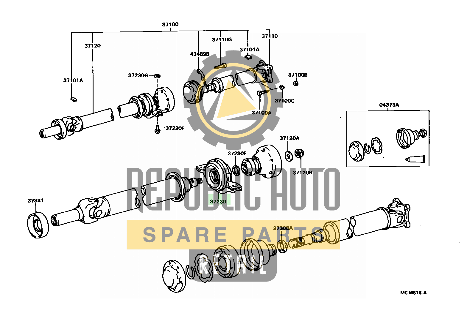 Part number: 37230-20170 	CALDINA 274130 (CT198V-DXMDS) / PROPELLER SHAFT & UNIVERSAL JOINT