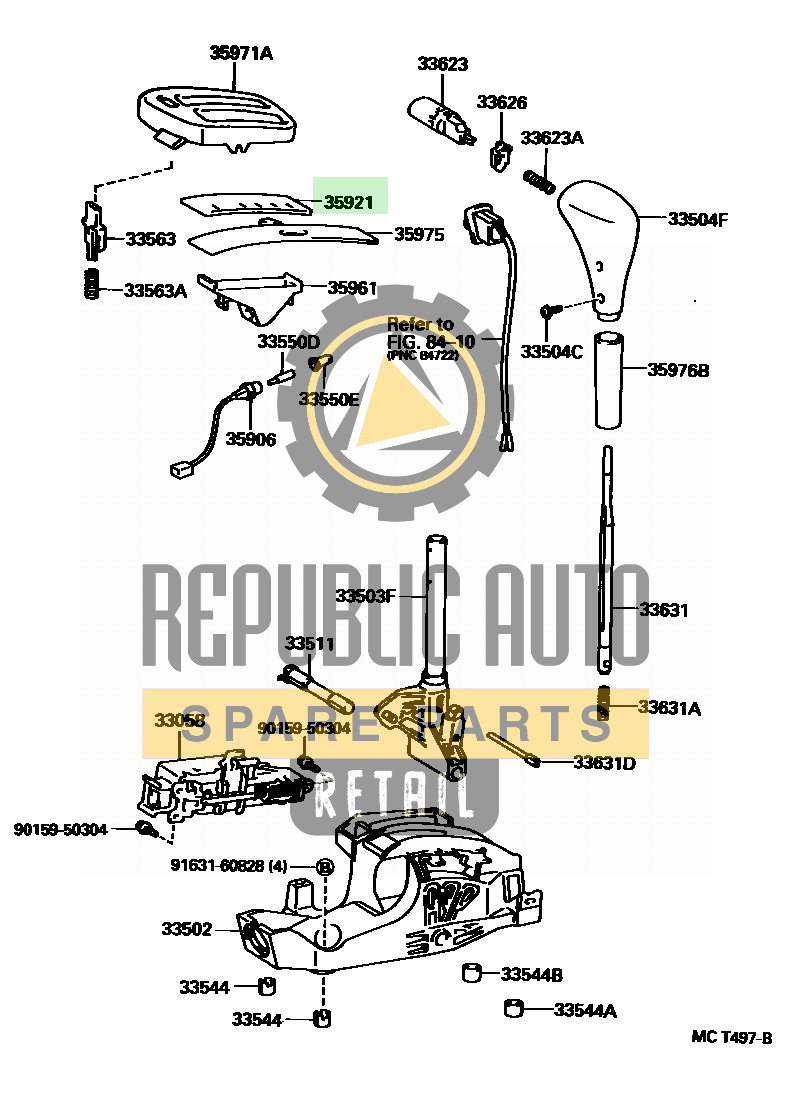 Part number: 35921-12410 	LEVIN/TRUENO 153140 (AE110-ACPGK) / SHIFT LEVER & RETAINER