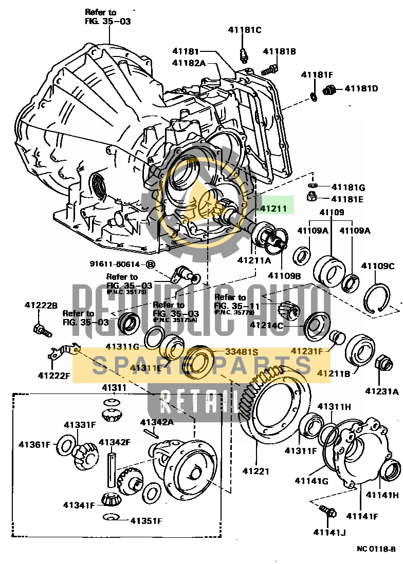 Part number: 41211-20200 	COROLLA 151120 (EE90-AEHBS) / FRONT AXLE HOUSING & DIFFERENTIAL