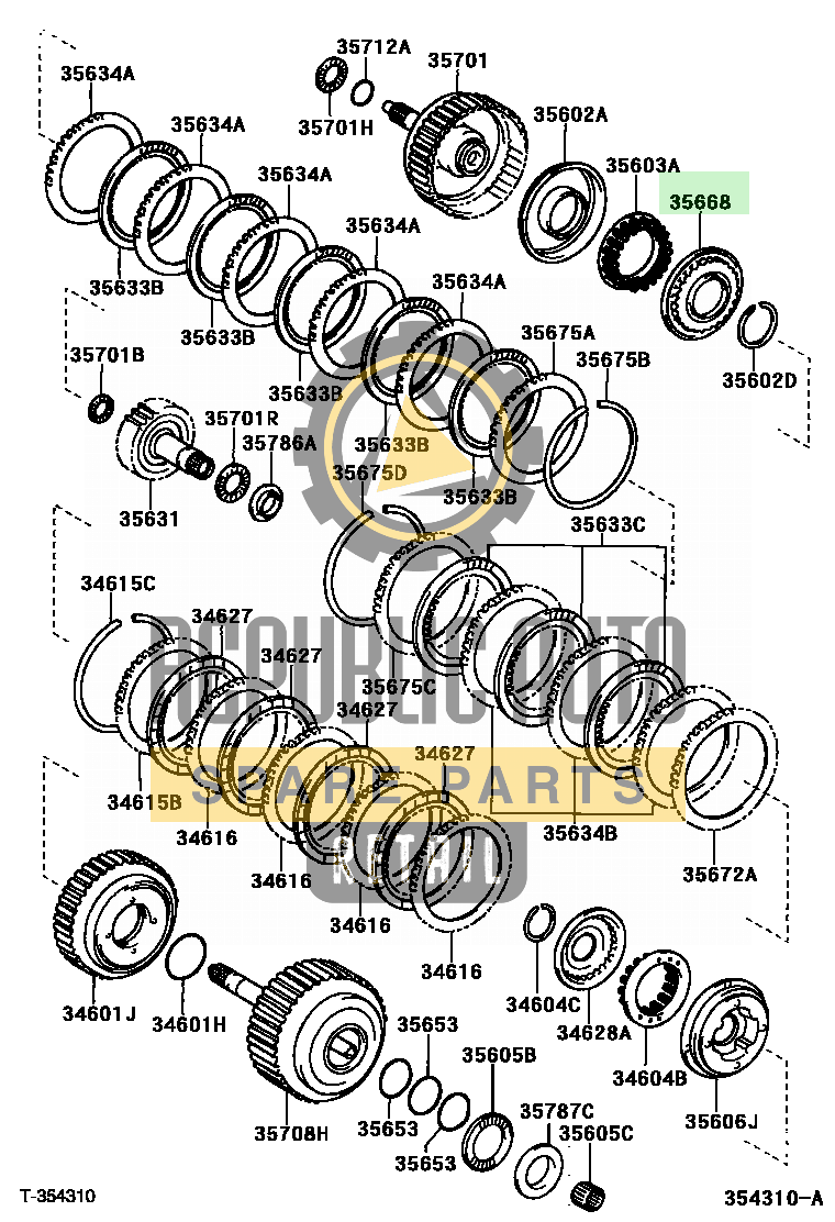 Part number: 35668-33010 	CAMRY          (JPP) 284470 (MCV30L-AEAGKA) / BRAKE BAND & MULTIPLE DISC CLUTCH (ATM)