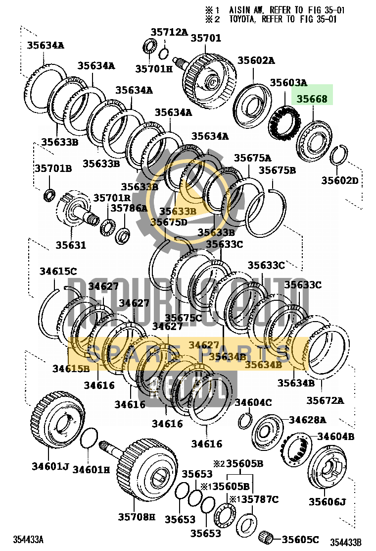 Part number: 35668-33010 	HIGHLANDER 522410 (MCU23L-BRANKA) / BRAKE BAND & MULTIPLE DISC CLUTCH (ATM)
