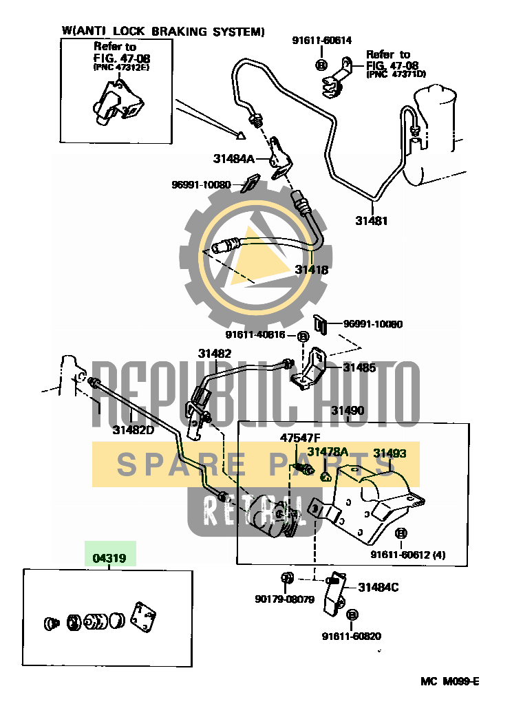 Part number: 04319-36020 	CAMRY          (NAP) 283450 (VCV10L-CEMSKA) / CLUTCH PEDAL & FLEXIBLE HOSE