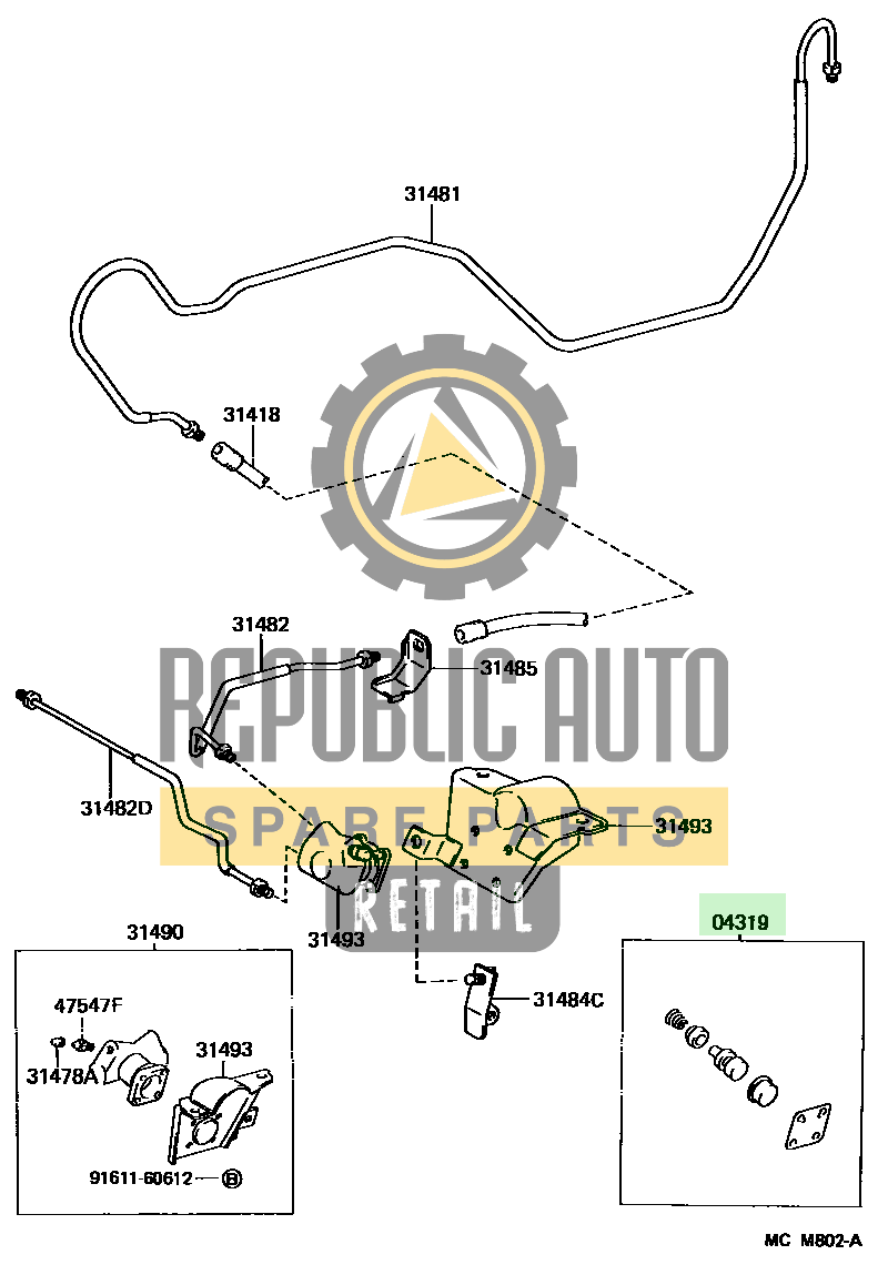 Part number: 04319-36020 	LEXUS ES300 284450 (VCV10L-BTMGKA) / CLUTCH PEDAL & FLEXIBLE HOSE